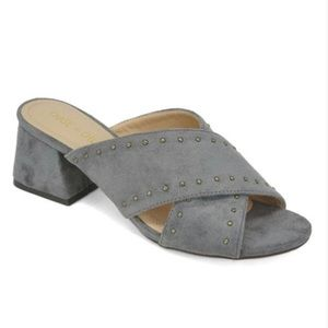 ⭐️ WOMEN'S BLOCK HEEL SLIDE SANDAL GRAY